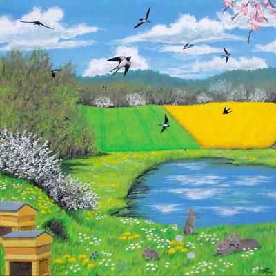 Le printemps (lac, champs, hirondelles, fleurs, abeilles, lapin et lapereaux). Peinture acrylique sur toile.