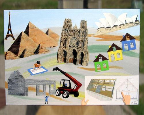 Peinture acrylique sur toile avec relief représentant le 1er art : l'Architecture. Mélange d'architecture ancienne (Pyramides d'Egypte, cathédrale de Reims) et moderne (opéra de Sydney), ainsi que les architectes au travail