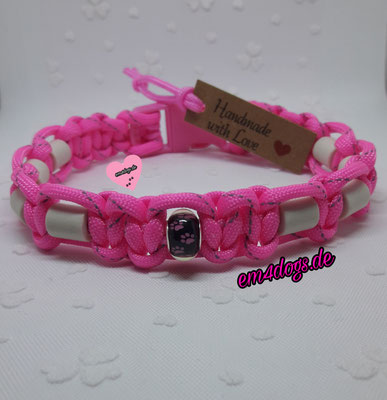 em4dogs.de EM-Keramik Hundehalsband  Pfote pink