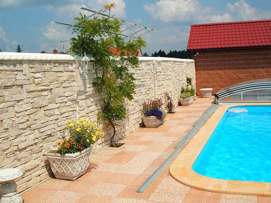 Pool- Mauerverkleidung - Verblendersteine Piedra rustico cream 011
