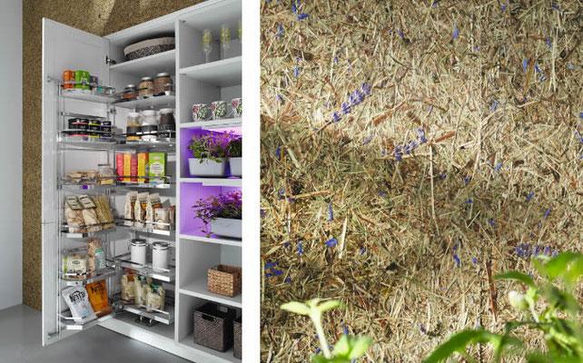 Küche mit organischer Heu- Wandgestaltung - Echtes Almheu mit Lavendel