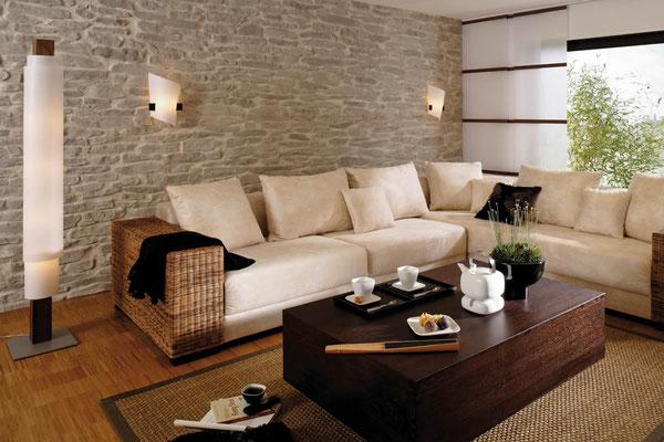 Wohnzimmerwand Steinpaneele