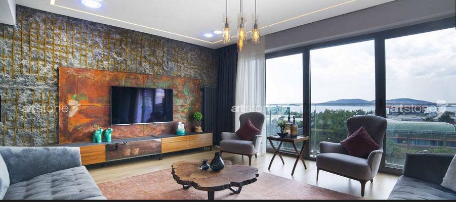 Penthouse - Urbane Innenarchitektur im Beton / Industrielook