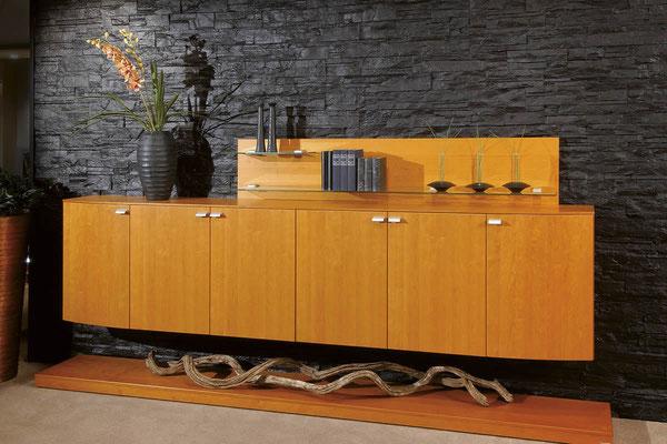 Wohnzimmer Wandverkleidung mit Steinpaneele in schwarzer Steinoptik