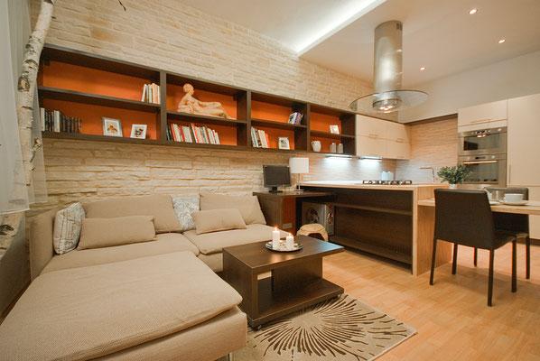 Mediterrane Wohnzimmerwand - Verblendsteine Provence Nizza