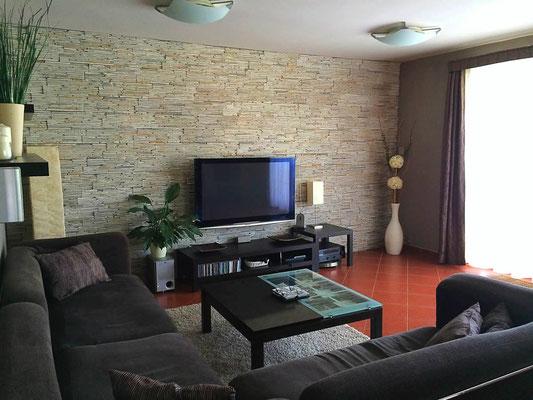 Extravagante Wohnzimmer- Steinwand | Acentos cream | 401