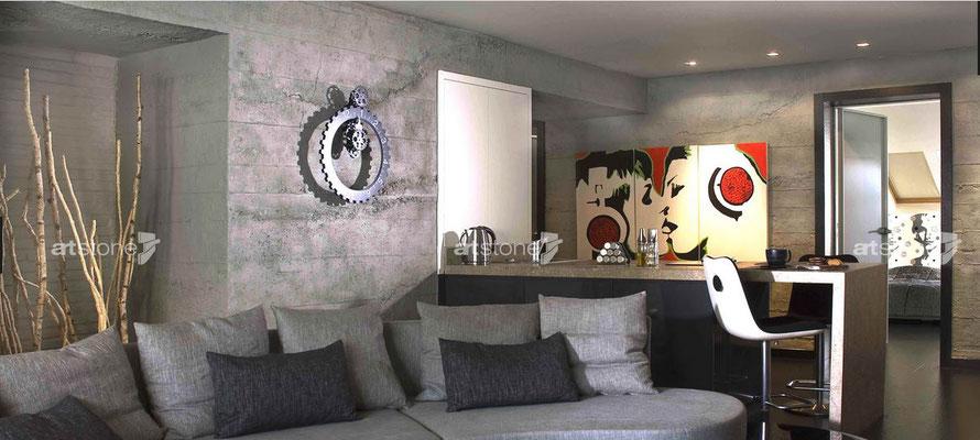 Wohnzimmer - Sichtbetonwand