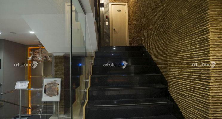 Hotel Wandgestaltung - Kunststeinpaneele Zanzibar earth