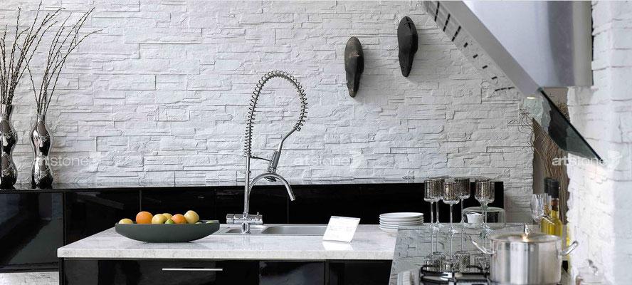 Küche in edler Steinoptik - Lascas blanca