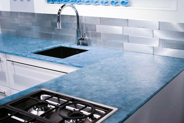 Küche - Arbeitsplatte Glaskeramik blau patiniert