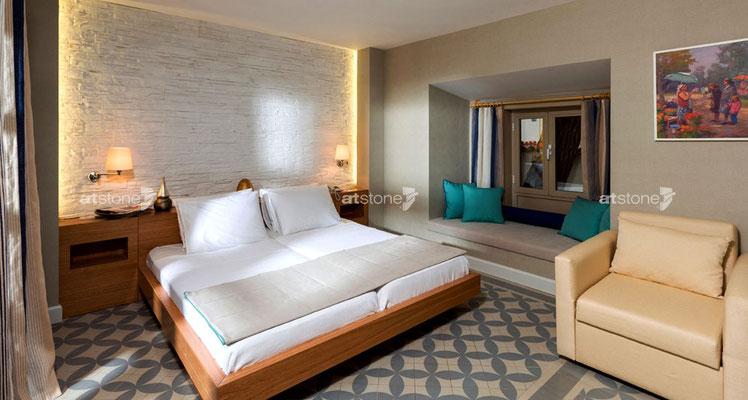 Schlafzimmer Steindekor Lascas blanca