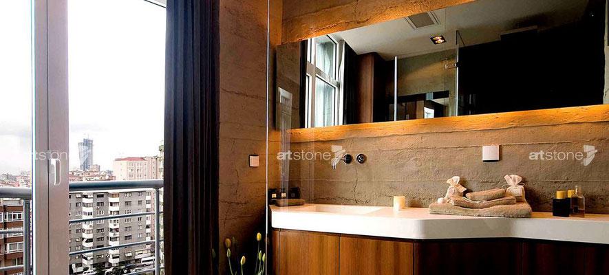 Badezimmer in moderner Betonoptik