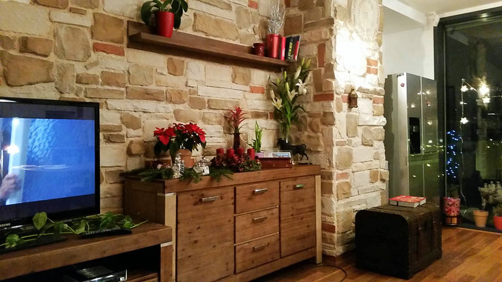 Wohnzimmer Steinwand Sol Ibiza