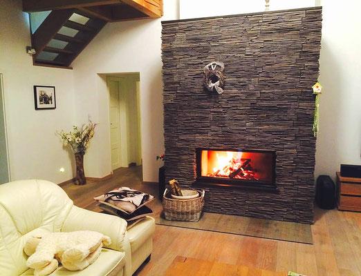 Betörende Kaminverkleidung | Steinverblender Acentos anthracite | 408