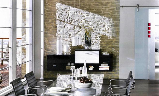 Wohnzimmer Steinwand | Muro Siciliana Dolfin 257