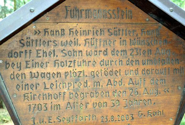 Gedenktafel am Fuhrmannsstein bei Wünschendorf im Erzgebirge