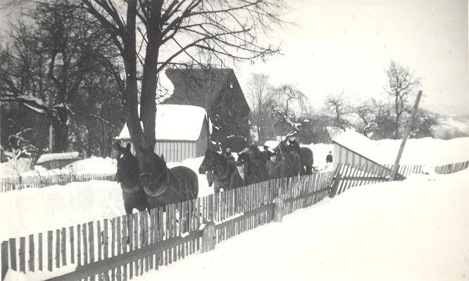 Schneeräumen mit Pferden in den fünziger Jahren