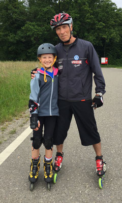 Mai 2015: Inline-Skaten mit Jörg Weiss auf der Panzerpiste beim Flughafen-Zürich
