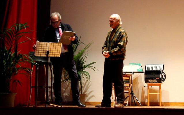 Mario Serenelli, ideatore e promotore della serata, con il M° Mugnoz