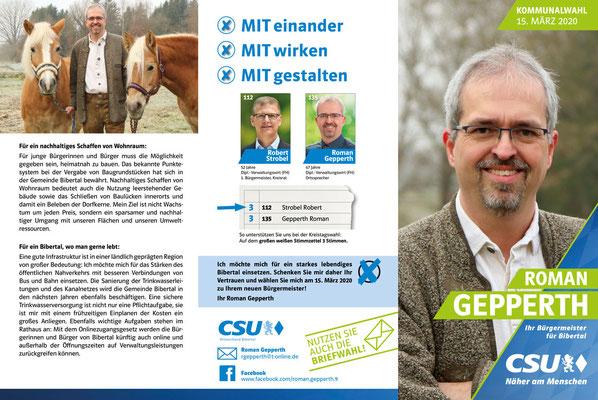 CSU - Infobroschüre zur Wahl des Bürgermeisters  Roman Gepperth