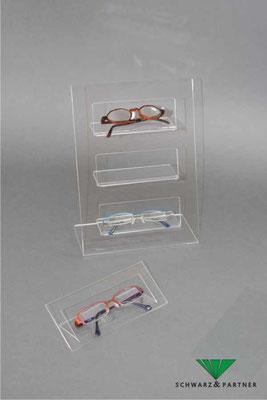 Brillenständer, Brillenaufsteller mit Ablagen