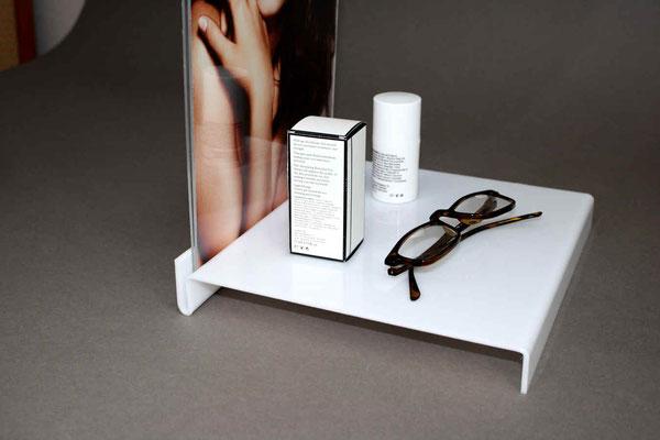 Tischaufsteller acryl weiss mit Plakattasche