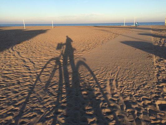 Strand Fahrrad Schatten Valencia Bike