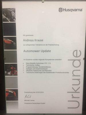 Husqvarana Urkunden für Teilnahme an der Praxisschulung Automover