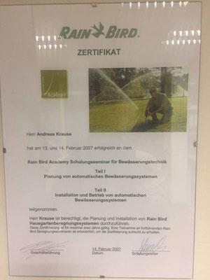 Rain Bird Zertifikat für Planung und Installation für Bewässerungssysteme