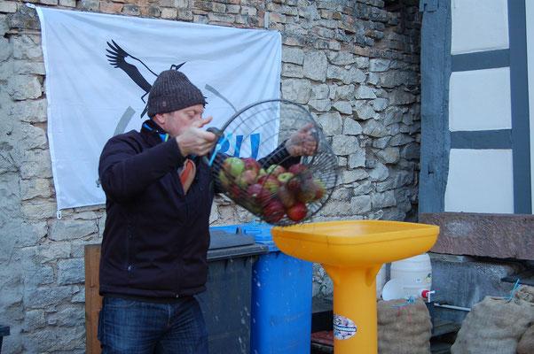 Die Äpfel werden vorbereitet fürs Keltern. Foto: NABU Trebur