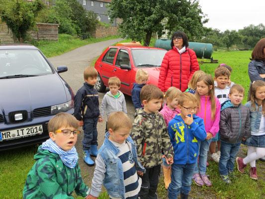 16.06.2016 Die Kinder sind in Bellnhausen an der Lahnnahe der Obstwiese des Steinkauzbrutreviers angekommen - Foto: Friedrich-Karl Menz