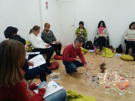 Creando aguamatriz para las participantes del seminario en Sevilla