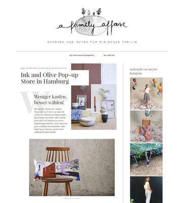A Family Affair Blog berichtet über den INK + OLIVE Pop up Store