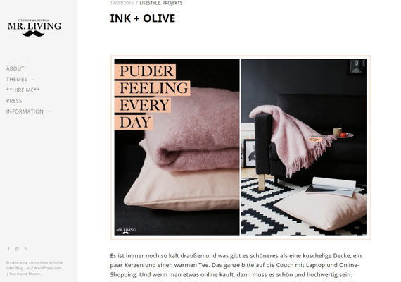 INK + OLIVE featured by Mr Living Blog