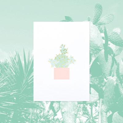 Kaktus Karte mit goldener Folienstanzung von Thiestudios
