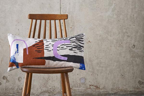 Kissen, Siebdruck, Laura Slater, made in UK, Leinenkissen, graphisch