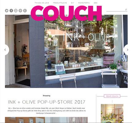 COUCH empfiehlt den INK+OLIVE Pop Up Store in der Weidenallee 61 in Hamburg