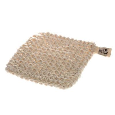 weißer, dicker Topfuntersetzer aus Leinen und Baumwolle, handgefertigt. Iris Hantverk, Schweden