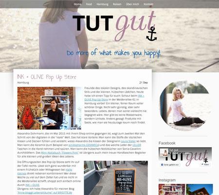 Anna vom Tut gut Blog berichtet über den INK +OLIVE Pop Up Store