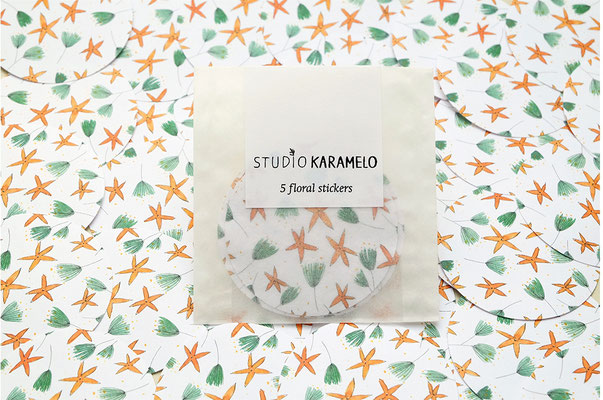 """5 florale Aufkleber """"Sterne"""" im Set, Studio Karamelo"""