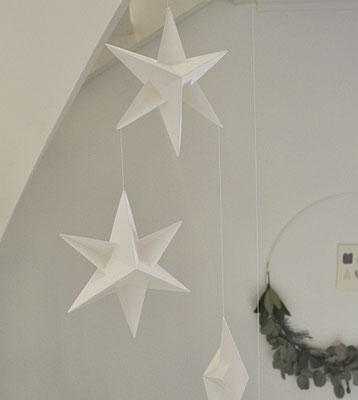 Livingly Mobile Sternengirlande, weiß, handgefetigt in Dänemark