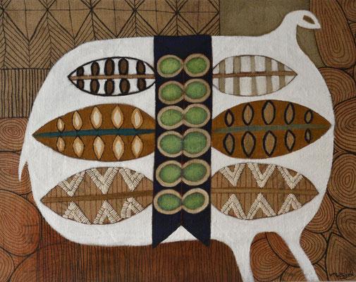L'oiseau blanc Sac de café peint et brodé