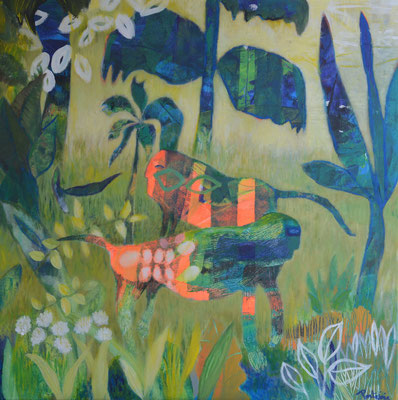 """""""Jungle"""" toile 80x80cm . dispo"""