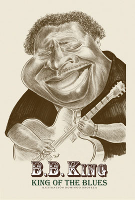 Ilustración caricatura, tributo personal a BB King.