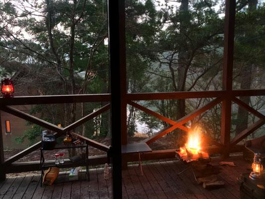 朝の#焚き火