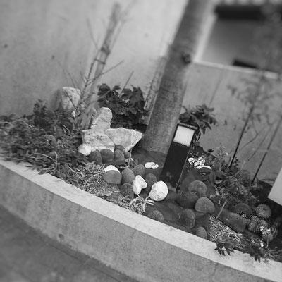 防草シート敷いて、簡単な石の据付