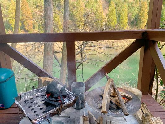グリーンパル日向神峡 コテージ泊 BBQ 焚き火