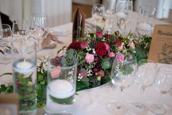Tischdeko bordeaux-pink-rosa