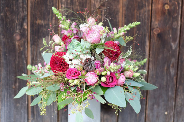 Brautstrauss bordeaux-pink-rosa