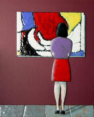 meisje in museum 24x30 cm